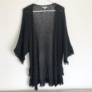 Black Crochet Open Cardigan with Fringe XS